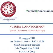 """Convegno: """"Usura e Anatocismo"""" – Foggia, 10 maggio 2018"""